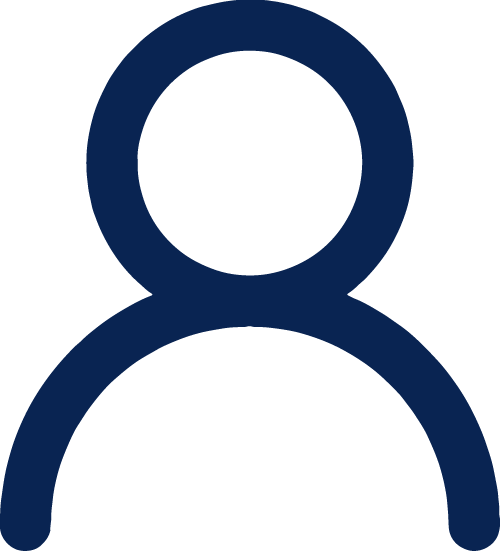 lineart illustration of one circle on top of a half circle to indicate a person's head and shoulders