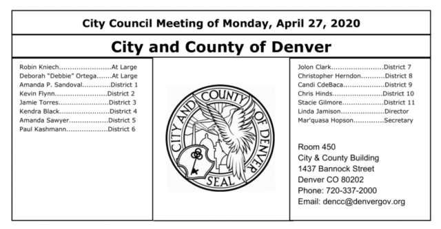Denver city council meeting from Monday April 27, 2020 noting board member names and their district seats