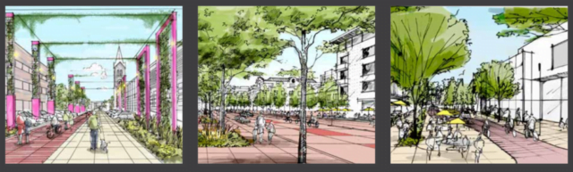 3 artist renderings of the 5280 Trail. One is a pedestrian walkway with shops on either side and a pergola along the edges. The second image is apartment buildings and shops along a tree lined-pedestrian walk way. The third image is outdoor dining, pedestrians along a brick walk way