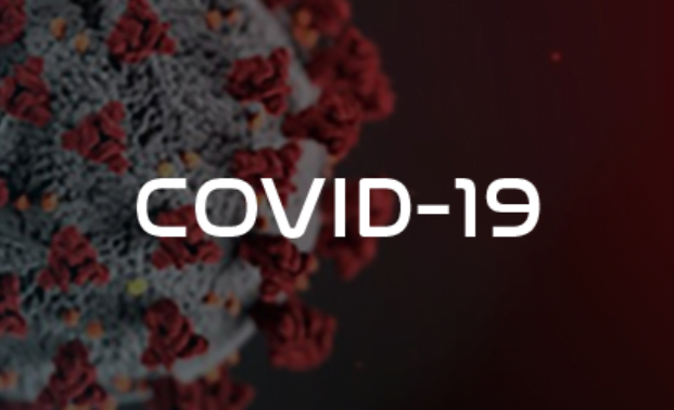 COVID-19 graphic with image of virus label as COVID-19