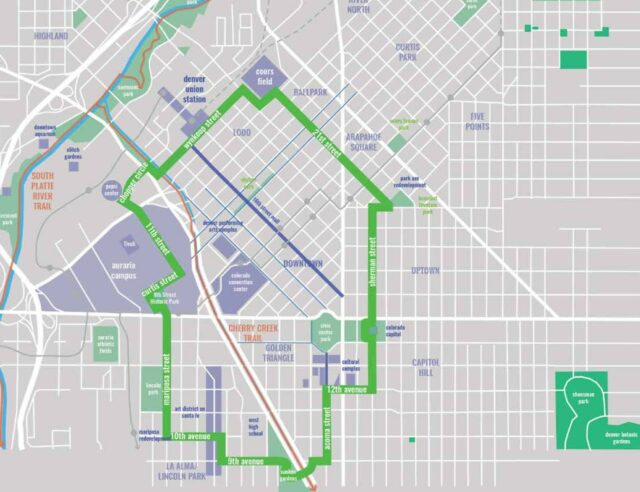 City Planning map of 5280 Trail highlighting local culture, iconic features, architecture and history.