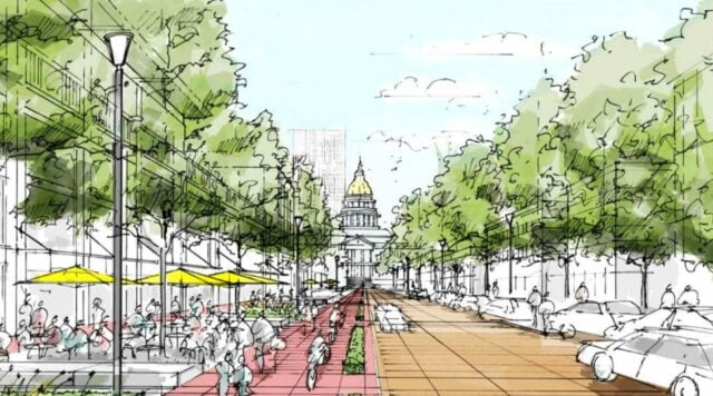 artists sketch of 5280 trail showing mature trees, shoppers, diners, motor traffic and the Denver capitol building in the distance